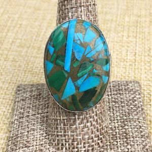 Copper Malachite & Turquoise Ring Size 8.75